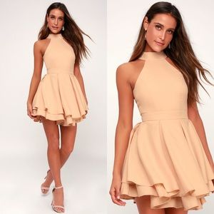 Lulus • rehearsal Peach Skater Dress